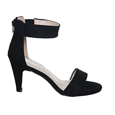 black ankle strap heels low heel ankle strap sandals (5.5, blacke1) [apparel] FBKZDQS